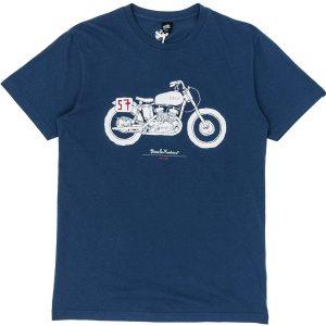 T-shirt Deus ex Machina avec moto café racers imprimer sur l'avant couleur bleue foncée