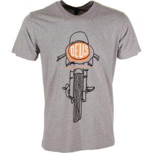 T-shirt manches courtes gris avec Moto imprimer sur l'avant FRONTAL MATCHLESS DEUS EX MACHINA